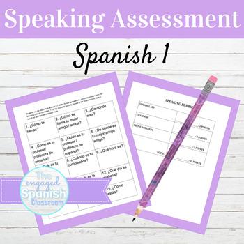 Spanish 1 Speaking Assessment Cards