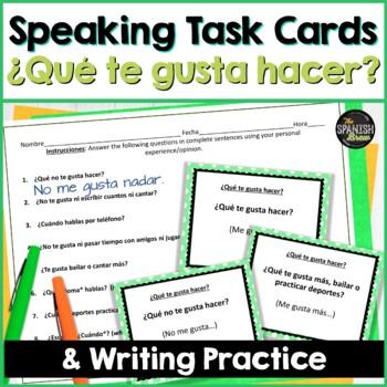 Spanish 1 Speaking task cards- gusta, infinitives, activities