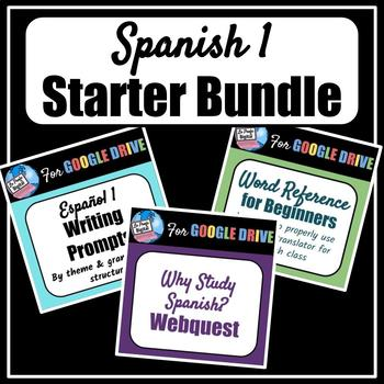 Spanish 1 Starter Bundle (Writing Prompts, Why Study Spanish?, Word Ref)