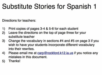 Spanish 1 Stories for a Substitute Teacher