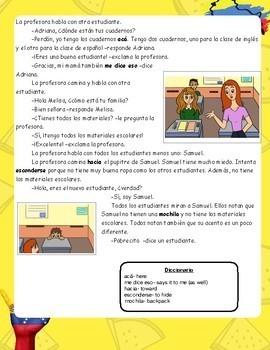 Spanish 1 Story [Gracias] Level 1+School, Present Tense- Immigration(Col/Ven)