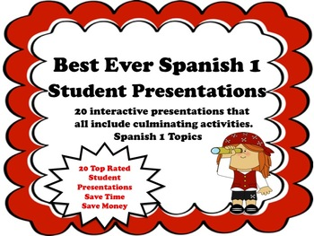 Spanish 1 Student Presentations and Activities Best Ever Bundle 20