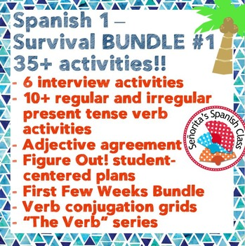 Back to School: Spanish 1 - Survival BUNDLE #1