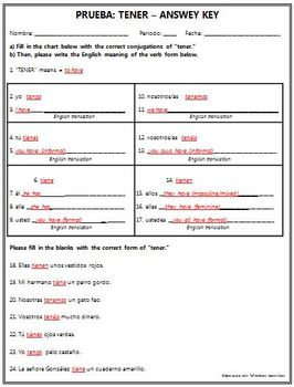 Spanish 1 - TENER QUIZ - Includes a modified quiz!