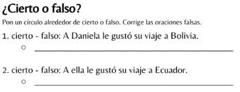 Spanish 1 - TPRS - Las vacaciones de Daniela