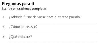 Spanish 1 - Realidades 1, chapter 8A - Las vacaciones de Daniela (TPRS)
