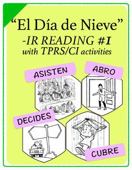 Spanish 1,2: TPRS Story with CI, -IR verbs, Pkt 1(abrir, asistir,cubrir,decidir)