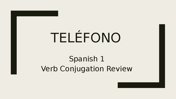 "Spanish 1 Telephone Verb Conjugation Review Game ""Telefono"" Basic Verbs"