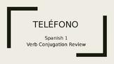 "Spanish Verb Conjugation Review Game ""Telefono"" Basic Verbs Spanish 1 Fun"