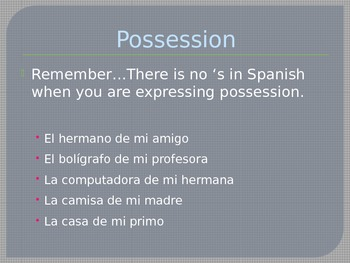 Spanish 1 - Third Quarter Review PowerPoint