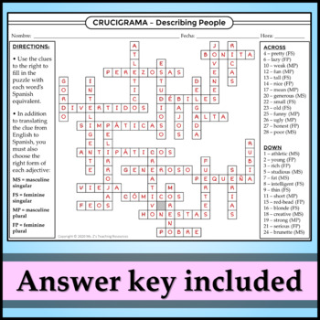 Spanish 1 - Two Crossword Puzzles for Describing People