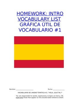 Homework Sp1 - Unit 1 Vocabulary: Three Column List for Welcome Words