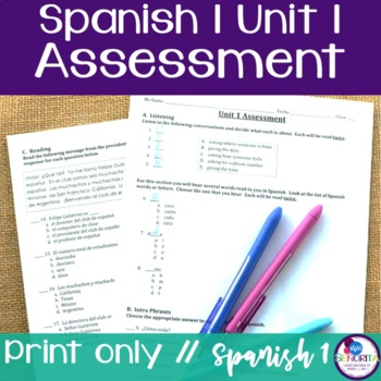 Spanish 1 Unit 1 Assessment