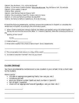 Spanish 1 Unit 1 Exam