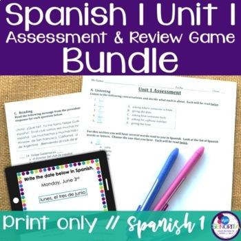 Spanish 1 Unit 1 Review Game & Assessment Bundle