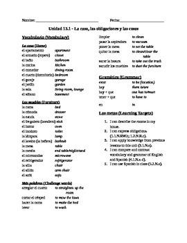 Spanish 1, Unit 13: Household, Prepositions, Estar, Obligations, Articles