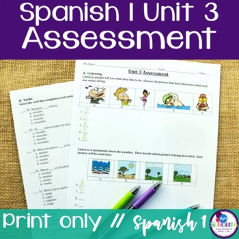 Spanish 1 Unit 3 Assessment
