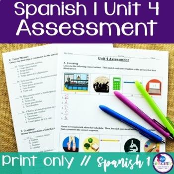 Spanish 1 Unit 4 Assessment