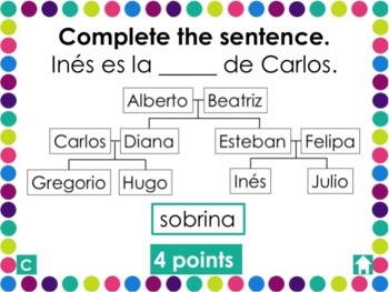 Spanish 1 Unit 5 Review Game