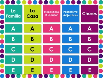 Spanish 1 Unit 5 Review Game & Assessment Bundle