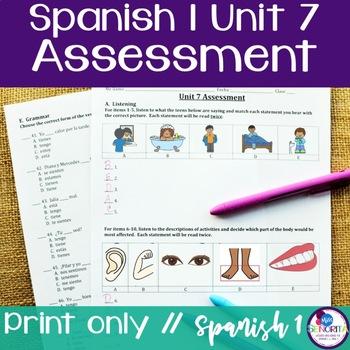 Spanish 1 Unit 7 Assessment