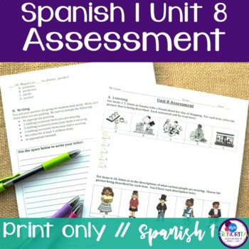 Spanish 1 Unit 8 Assessment
