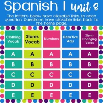 Spanish 1 Units 1-8 Review Games BUNDLE