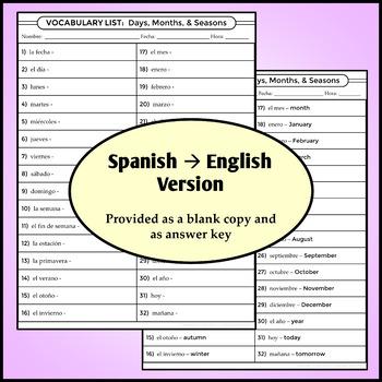 Spanish 1 - Vocab List - Days, Months, and Seasons