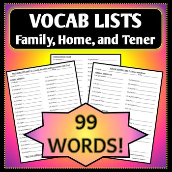 Spanish 1 - Vocab List - Family, House, Tener, & Possessive Adjectives