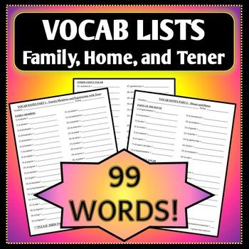 Spanish 1 - Vocab List - Family, House, Tener, & Possessiv