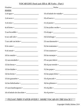 Spanish 1 - Vocab List - Food and -ER & -IR Verbs
