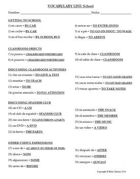 Spanish 1 - Vocab List - School and Club Vocabulary