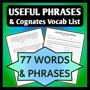 Spanish 1 - Vocab List - Useful Phrases and Cognates