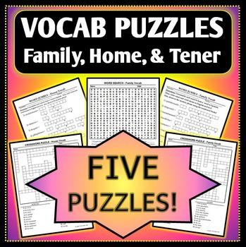 Spanish 1 - Vocab Puzzle Bundle - Family and House Vocab - 5 Worksheets