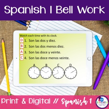 Spanish 1 Bell Work:  130