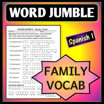 Spanish 1 - Word Jumble - Family Vocab Activity