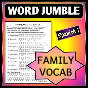 Spanish 1 - Word Jumble - Family Vocab Activity