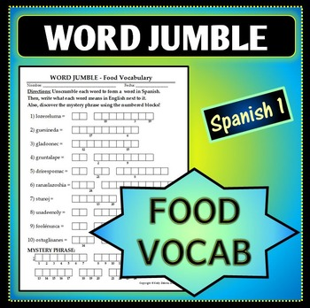 Spanish 1 - Word Jumble - Food Vocab Activity
