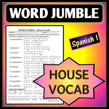 Spanish 1 - Word Jumble - House Vocab Activity