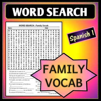Spanish 1 - Word Search for Family Vocab - Fill-in-the-blank Sentence Clues