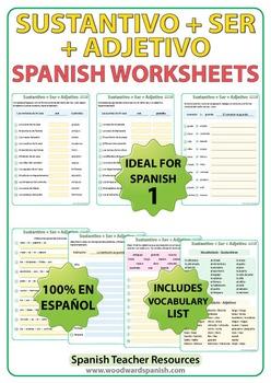 Spanish 1 Worksheets: Sustantivo + SER + Adjetivo