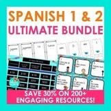 Spanish 1 and 2 ULTIMATE BUNDLE | Task Cards Boom Cards Ga