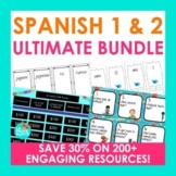 Spanish 1 and 2 ULTIMATE BUNDLE | Task Cards, Boom Cards, & more