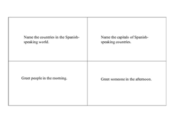 Spanish 1 and 2 Speaking Task Cards