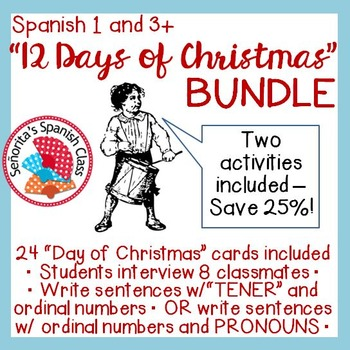 Spanish 1 and 3 - 12 Days of Christmas Interview Activity BUNDLE