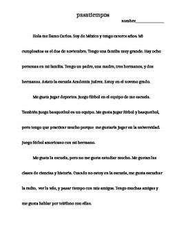 Spanish 1 hobby reading and comprehension questions