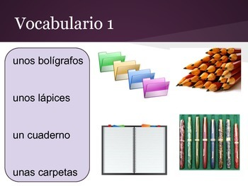 Spanish 1 interactive presentation, school vocabulary and related verbs