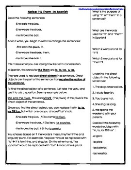 Spanish 1 or 2 Direct Object Pronoun Packet