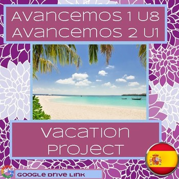 Spanish 1 or 2 Vacation Project (Avancemos 1 Unit 8 or 2 Unit 1)