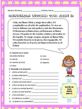 Spanish 1 reading comprehension. Todo sobre mí.